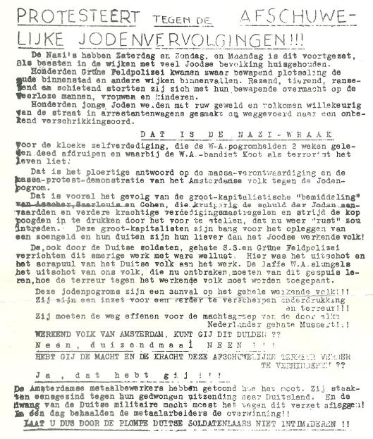 Achterzijde van het in Amsterdam verspreide pamflet om te protesteren tegen de razzia's op Joden