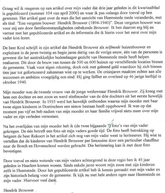 Schrijven van de heer Hendrik Brouwer Jr.