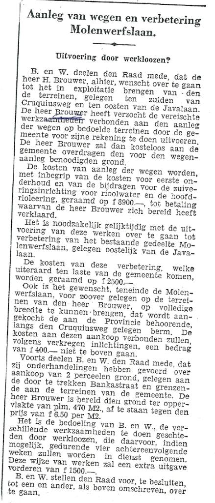 Aanleg Molenwerfslaan. Bericht uit het Haarlems Dagblad van 28 juni 1938.