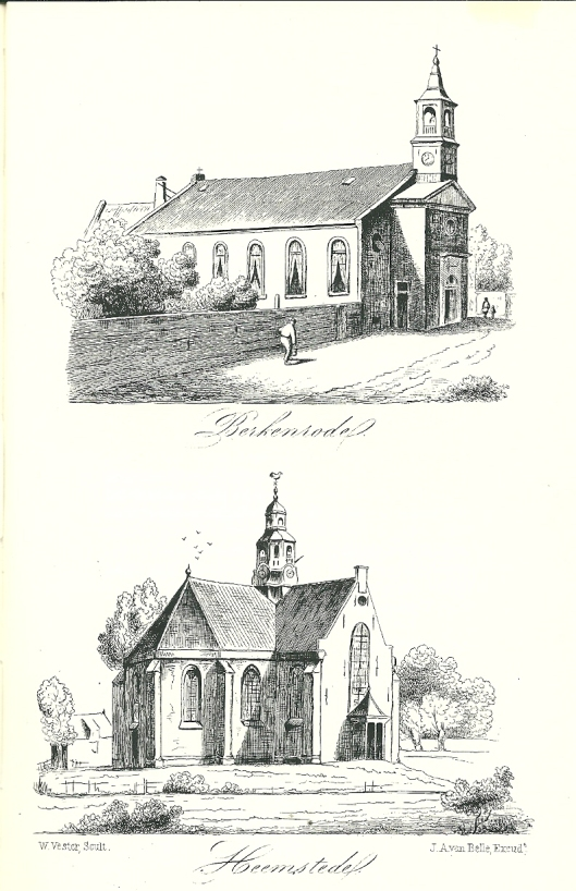 Twee litho's van de oude kerk van Berkenrode (boven) en Hervormde kerk van Heemstede door Willem Vester, gesrukt door J.A.van Belle [Opgenomen in het boek 'Heemstede' door onderwijzer H.H.B.Binnewiertz (Rotterdam, 1854)