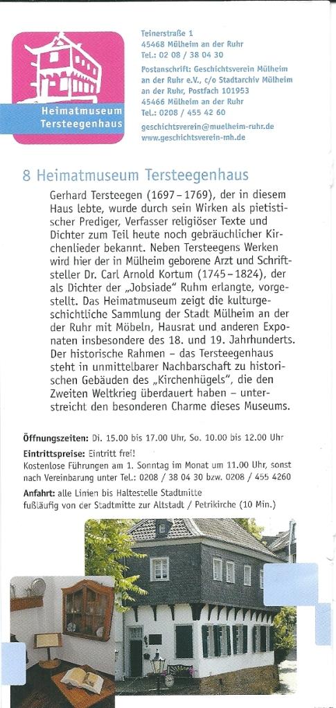 Over het Heimatmuseum Tersteegenhaus in een folder over Mühlheim