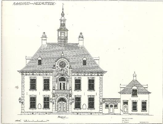 Tekening van het raadhuis Heemstede uit 1906, getekend door de architecten Joseph Cuypers, Jan Stuyt en J.Etmans