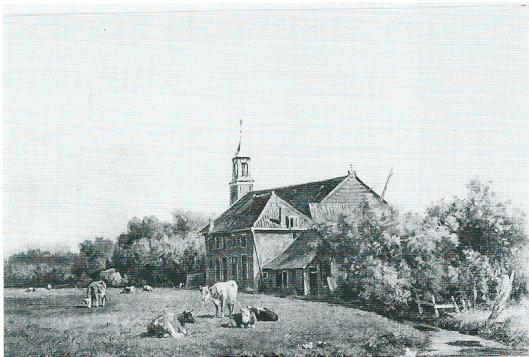 Schilderij van Willem Vester van de kerk en pastorie van Berkenrode uit omstreeks 1835