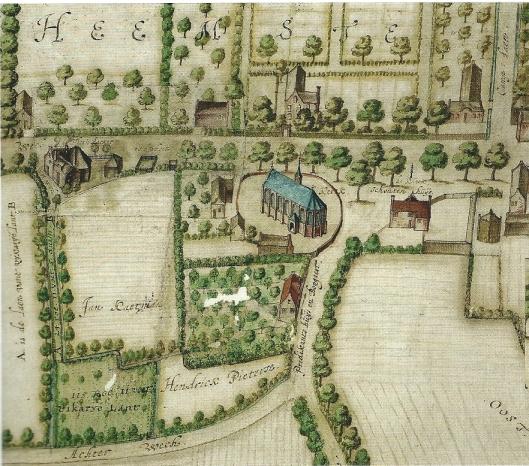 Kerk en Schoutenhuis op het Kerk- od Dorpsplein, op een kaart van Balthazar Floriszoon van Berkenrode uit 1627