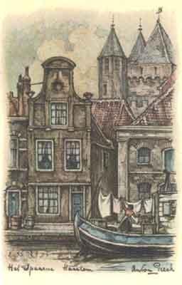Het Spaarne Haarlem; door Anton Pieck