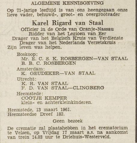 Karel Rigard van Staal is na de Bevrijding in Heemstede gaan wonen. Overlijdensadvertentie uit Het Vrije Volk van 16-3-1961
