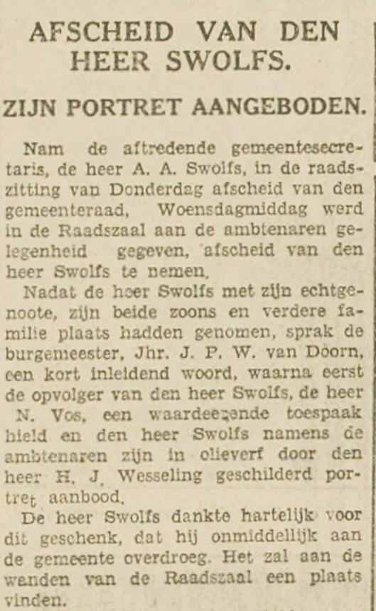 Aanbieding portret van A.A.Swolfs, vervaardigd door de kunstenaar H.J.Wesseling. Uit: Haarlem's Dagblad van 29 december 1931