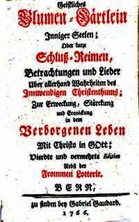 Titelblad van 'Geistliches Blumen-Gärtlein Inniger Seelen', door Gerhard Tersteegen.1766 (Bayerische Staatsbibliothek, München)