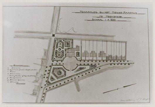 Ontwerp tuinaanleg rond Raadhuis Heemstede door Van Empelen, 1906