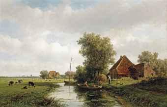 Willem Vester: polderlandschap Heemstede met Haarlem in de verte. November 2013 geveild bij Christie's voor 3.040 euro.