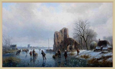 Willem Vester: IJslandschap rond ruïne van Brederode (verkocht door Galerie Trompenburgh in WIjdemeren)