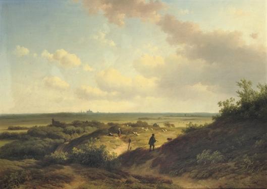 Gezicht op Haarlem vanuit de duinen door Willem Vester (1824-1895), in 2008 bij Christie's Amsterdam geveild voor 13.727 euro