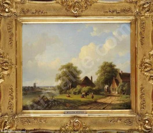 Boerderij in Heemstede met molen op de achtergrond en het Spaarne; door Willem Vester (Artvalue.com)