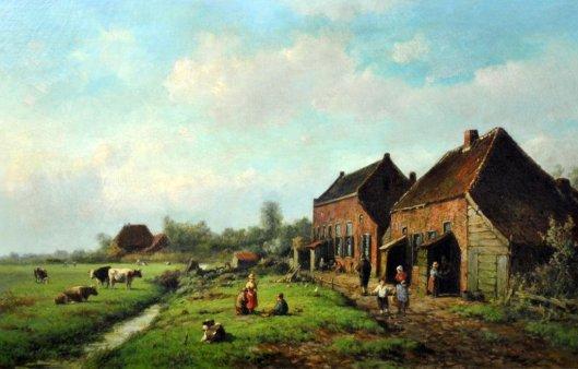 Boerenscène met enkele personen, een sloot en vee. Gesigneerd W.Vester (liveauctioneers)