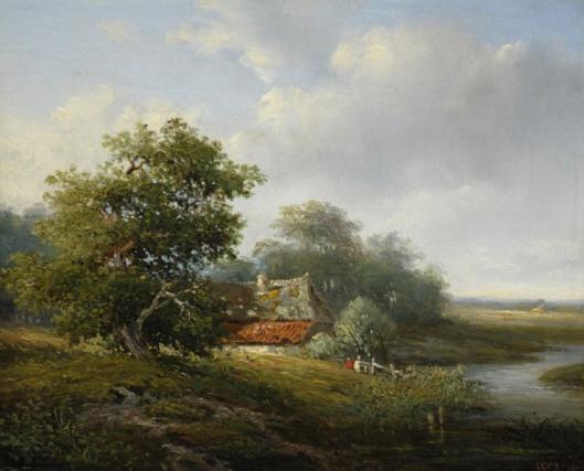 Zomerlandschap nabij 't Klooster met boerenhoeve door Willem Vester, 1850. (Simonis en Buunk)