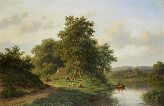 Romantisch tafereel met bootje in een vaart.Olieverf (55x86 cm), ongesigneerd, maar toegeschreven aan Willem Vester (Bonham, Oxford, augustus 2013).