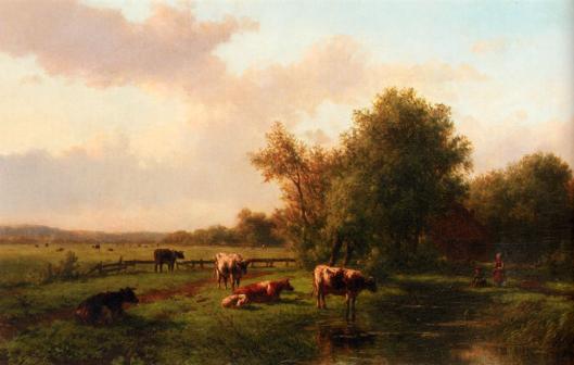 Weilanden met koeiren rond de Monnikenvaart Heemstede door Willem Vester (privécollectie)
