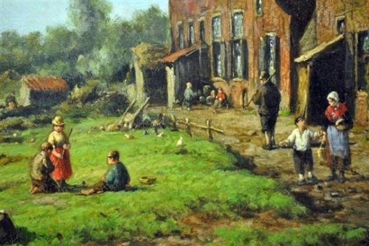 Scene rond een boerderij, olieverfdoek door Willem Vester, 26x17 cm. (Mutual.art.com)