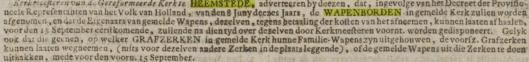 Advertentie over weghalen van wapenborden en verwijderen van heraldische wapens op grafzerken in de kerk, uit Haarlemsche Courant van 27 augustus 1795