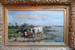 H.G.Wolbers: koeien in de wei aan het Spaarne