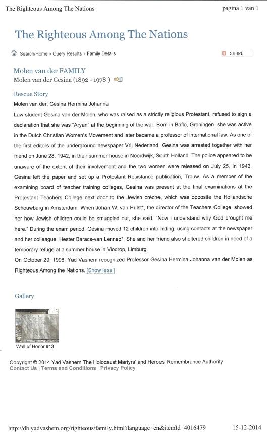 Verklaring Yad Vashem omtrent toekenning