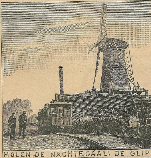 Nog een afbeelding (houtgravure) van de molen en fabrieksschoorsteen uit 1910