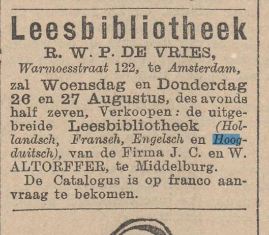 Advertentie van veiling leesbibliotheek Altorffer uit Middelburg bij R.W.P.de Vries in Amsterdam, 24-8-1896