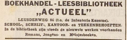 Advertentie uit 1934 van boekhandel en leesbibliotheek 'Actueel' in Amersfoort