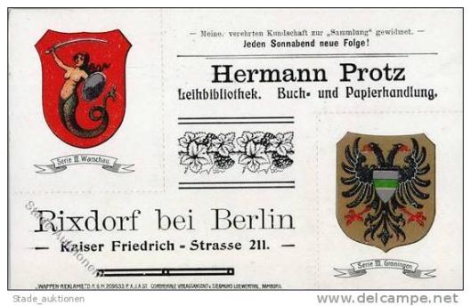 Reclamekaart Leihbücherei Herman Protz in Rixdorf bij Berlijn