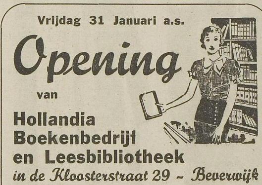 Hollandia boekhandel en leesbibliotheek, Kloosterstraat 29 Beverwijk