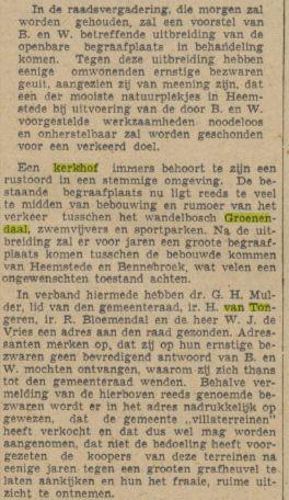 In 1940 zond H.van Tongeren met enige andere omwonenden een bezwaar naar de gemeenteraad tegen de voorgenomen uitbreiding van de begraafplaats