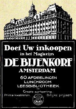Advertentie van De Bijenkorf in Amsterdam, toen nog met leesbibliotheek, uit 'de Amsterdammer' van 11 april 1915.