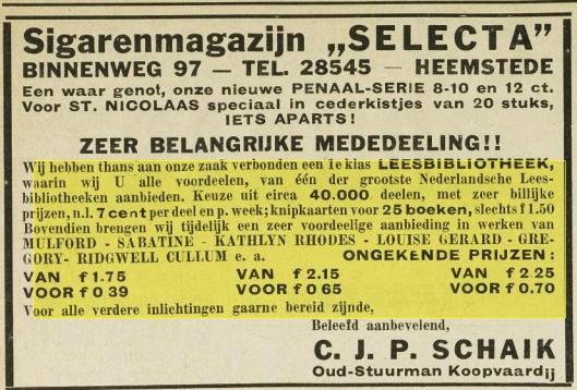 Advertentie sigarenmagazijn-leesbibliotheek Selecta, Binnenweg 97