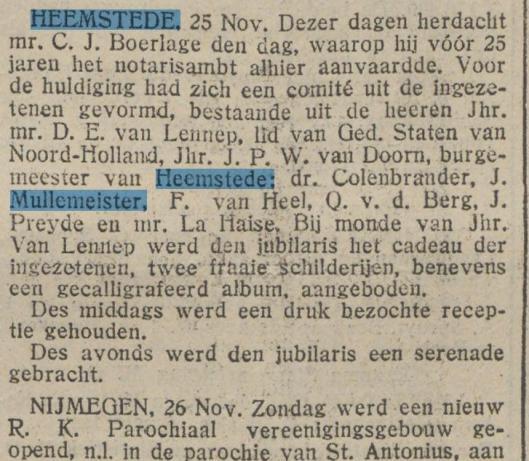 Jubileum van notaris Boerlage. Uit: De Tijd, 26-11-1923