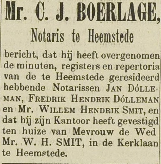 Bericht over notaris mr.C.J.Boerlage in Haarlemsch Dagblad van 26 november 1898
