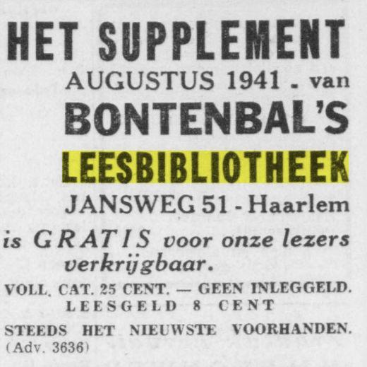 Adv. leesbibliotheek Bontenbal uit Opr.Haerlemsche Courant van 21-7-1941