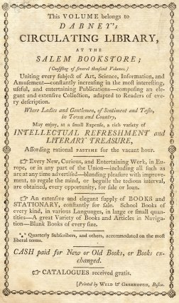 Bookplate for a book in Dabney's Circulating Library, Salem Bookstore, MA, USA
