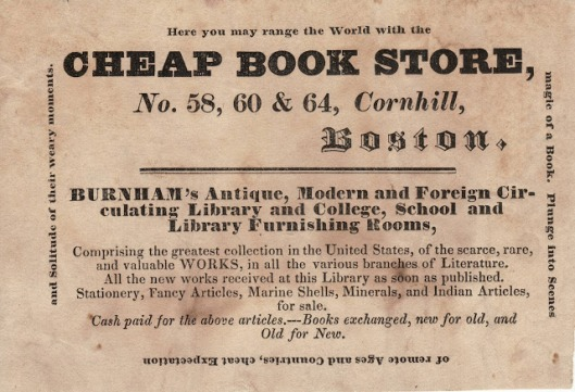 Advertentie van 'Burnham's Bookstore and Library'. Boston, circa 1850