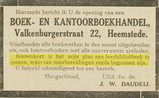 Bericht van opening leesbibliotheek Daudey op adres Valkenburgerstraat 22 Heemstede