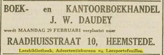 J.W.Daudey. Bericht van verhuizing leesbibliotheek naar Raadhuisstraat 10