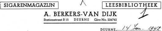 Briefhoofd A.Berkers-van Dijk: sigarenmagazijn-leesbibliotheek, Deurne