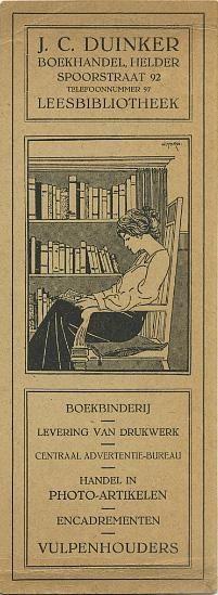 Boekenlegger van boekhandel-leesbibliotheek J.C.Duinker in Den Helder