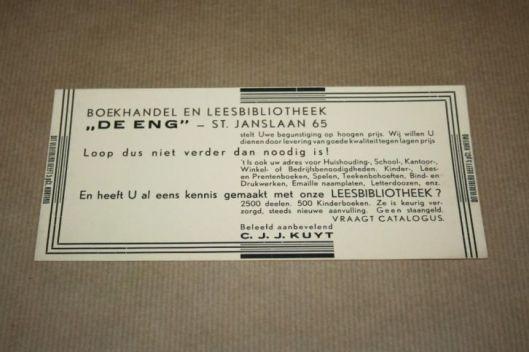 Vloeiblad van boekhandel-leesbibliotheek 'de Eng' in Bussum, circa 1930