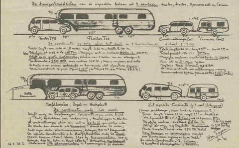 Eén door Herman van Tongeren gemaakte schetsen van een naoorlogse filmcolonne.