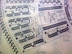 Een van 7 bouwtkekeningen betreffende ontwerp van een nieuwe woonwijk door Cornelis van Gelder; woningprijsvraag van de Europese Gemeenschap voor Kolen en taal (EGK, 1959
