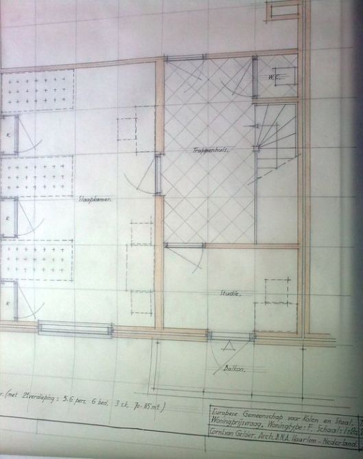 Plattegrond bouwtekening nieuwe wijk EGKS door Cornelis van Gelder
