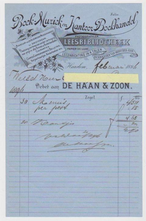 Nota van Boek-, Muziek- en Kantoorboekhandel annex Leesbibliotheek van De Haan en Zoon, Haarlem, 1896