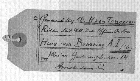 Wrange herinnering aan het onvrijwillig verblijf van Hermannus van Tongeren in het Huis van Bewaring aan het Kleine Gartmanplantsoen in Amsterdam.
