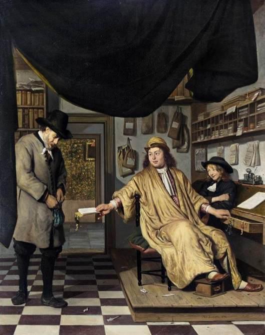 Een notaris in zin kantoor. Schilderij door Job Berckheyde uit 1672.