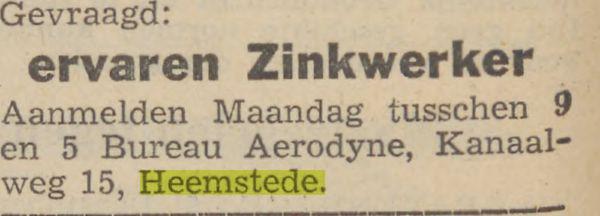 Advertentie van Aerodyne, met een werkplaats (naast o.a. zand- en grinthandels Van Son en De Jong) gevestigd aan de Kanaalweg 15 Heemstede. (Haarlem's Dagblad, 6-12-1941)